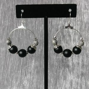 Onyx with African Map Earrings